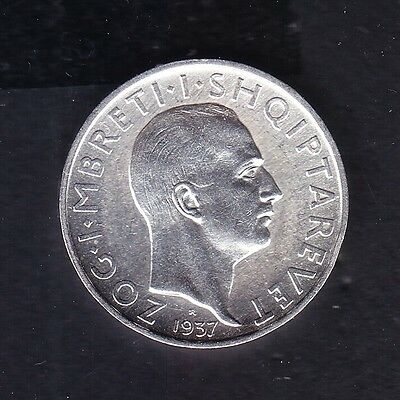 1937 Albania. 1 FR.AR. Silver coin 5 gr Rare.  See the Picture.     N 5