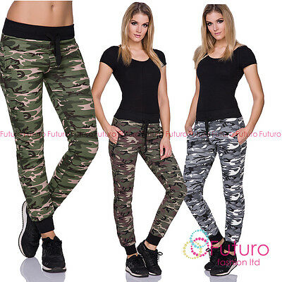 Ladies Casual Army Military Camouflage Jogging Pants Full Length Joggers FZ127