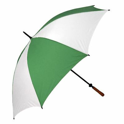 Large Windproof Golf Umbrella Manual Opening Wood Handle. Green & White