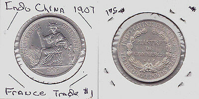 1907-A  French Indo-china Piastre Coin Km# 5a.1