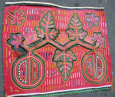 1950's DISTRESSED MOLA KUNA ART RELIC MOTIF TEXTILE MEDICINE LEAVES GUAVA FRUIT
