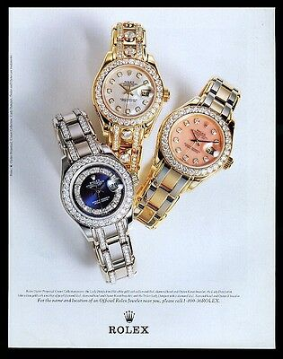 1998 Rolex Datejust diamond Crown Collection 3 watch photo vintage print ad