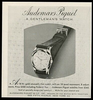 1949 Audemars Piguet 18 jewel men's watch photo vintage print ad