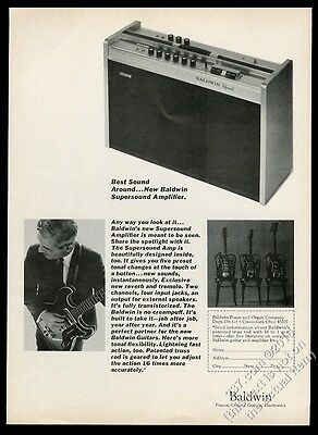 1966 Baldwin electric guitar and amp photo vintage print ad