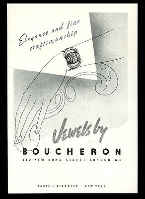 1947 Boucheron Jewelry London bracelet art UK vintage print ad