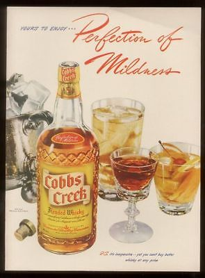1942 Cobbs Creek whisky bottle photo print ad
