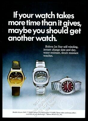 1975 Bulova Jet Star 3 watch color photo vintage print ad