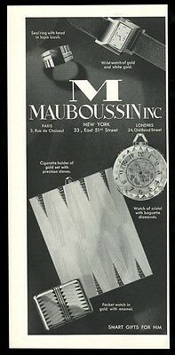 1930 Mauboussin art deco watch 3 models vintage print ad