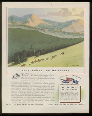 1944 Fred Mizen geologist mountain art Oil machinery ad