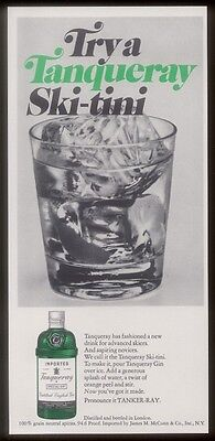 1972 Tanqueray Special Dry Gin ski-tini skiing theme drink recipe photo print ad