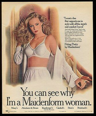 1977 Maidenform lingerie woman in white bra photo print ad
