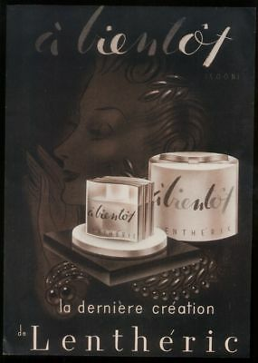 1940 Lentheric a Bientot perfume bottle art French ad