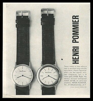 1959 Henri Pommier watch 2 styles photo vintage print ad