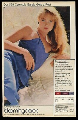 1980 Sutton lingerie blue camisole woman photo Bloomingdale's NYC print ad