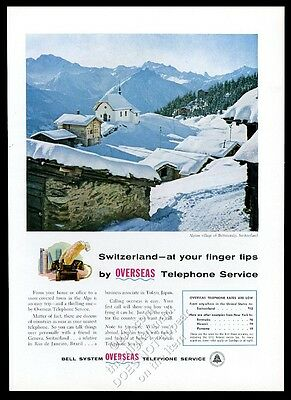 1956 Bettmeralp Switzerland photo AT&T Bell Telephone vintage print ad