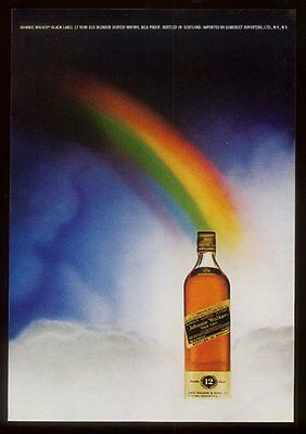 1972 Johnnie Walker Scotch whisky bottle at end of rainbow photo  print ad