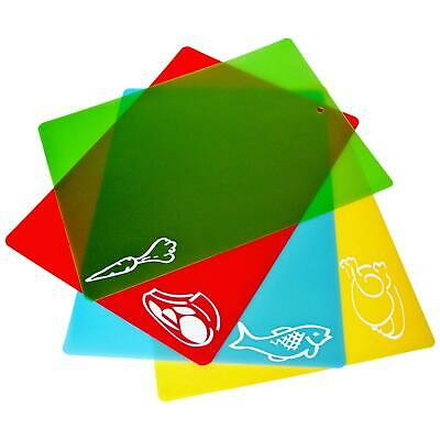 4 Chopping Cutting Mats Flexible Colour Coded Slicing Boards Plastic Kitchen