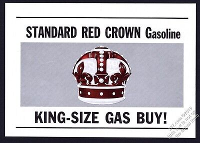 1952 Standard Red Crown Gasoline gas crown art vintage print ad
