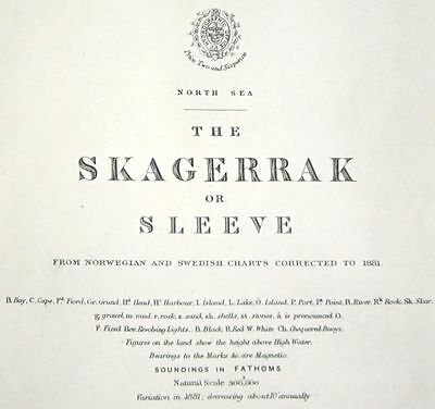 1881 Antique Nautical Sea Sailing Chart Map Norway Sweden Skagerrak North Sea UK