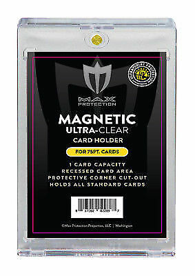 (25) Max Pro Magnetic Ultra One Touch 75pt Card Holders Gold Magnet UV Black