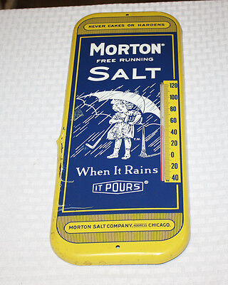 Original Vintage MORTON'S SALT Advertising Thermometer Tin Metal Sign