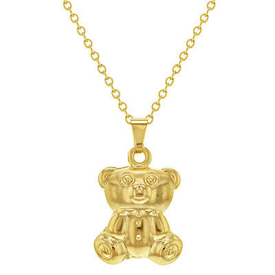 14k Gold Plated Puffy Teddy Bear Necklace for Girls Baby Kids 16""