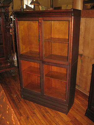 Danner Style Mahogany Double Stack Bookcase Folding Door Book Shelf Cabinet