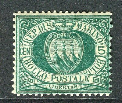 SAN MARINO;   1895 early classic issue Mint hinged 5c. value