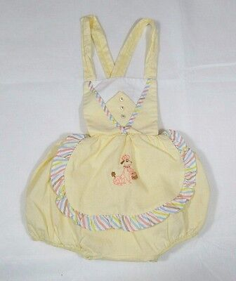 Vintage Baby Girl~1950's Poodle Embroidered~One-Piece~Playsuit~Romper~Yellow~USA