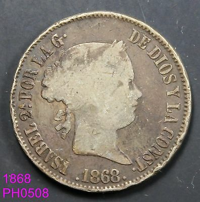 PHILIPPINES SPAIN 50 Centimos 1868 circulated silver coin