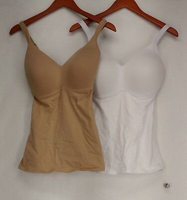 Rhonda Shear Camisole XL 2 Pack Cotton Molded Cup White/ Beige NEW NWOT