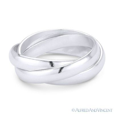 3mm Half-Dome Triple-Band .925 Sterling Silver Stackable Right-Hand Rolling Ring