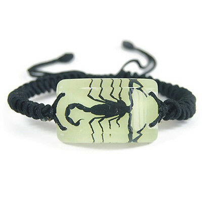 Glow In The Dark Rectangle Lucite Twisted Band Bracelet Black Scorpion