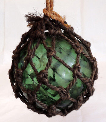 "Vintage 18"" In Circumference Japanese GLASS FISHING FLOAT Net, Olive Green (#61)"