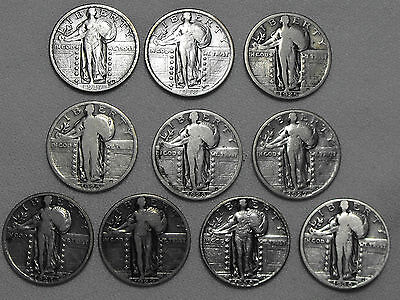 (10) Standing Liberty Quarters US Silver Coins 1917-1930