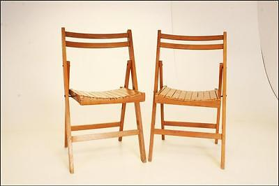 2 Vintage WOODEN FOLDING CHAIR PAIR set antique wedding church slat wood slatted