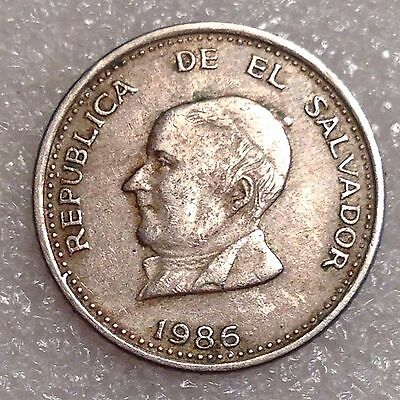 El Salvador 25 Centavos 1986Mo Copper-Nickel  #2311