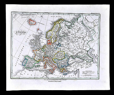 c.1847 Glaser Atlas Map Europe Italy Spain France Germany Britain Greece Denmark