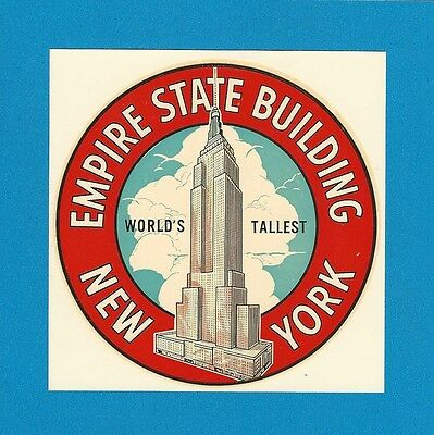 "Original Vintage 1948 Goldfarb ""empire State Building"" New York Water Decal Art"