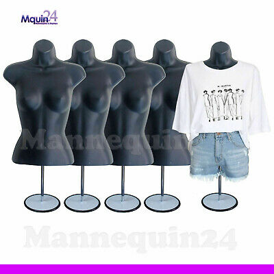 A LOT OF 5 BLACK FEMALE TORSO MANNEQUINS w/5 STANDS +5 HANGERS WOMAN CLOTHINGS