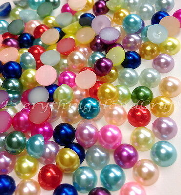 Mixed Pearl Flatback Resin Rhinestone Crystal Scrapbook Craft Decoden Cabachon