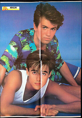 WHAM! / GEORGE MICHAEL - LARGE FOLD OUT POSTER FROM 1980'S No1 MAGAZINE