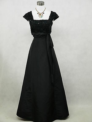 Cherlone Satin Black Long Lace Wedding/Evening Ball Gown Formal Bridesmaid Dress