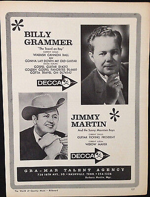 Billy Grammer / Jimmy Martin - 1 Page Advert From 1964 Billboard Country Music