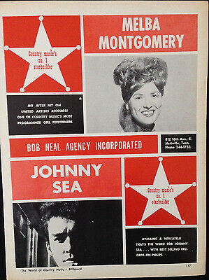 Melba Montgomery / Johnny Sea - 1 Page Advert From 1964 Billboard Country Music