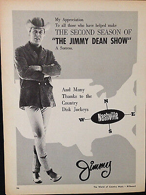 The Jimmy Dean Show - Original 1 Page Advert From 1964 Billboard Country Music