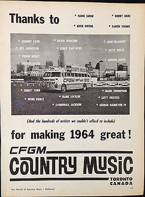 Cfgm Toronto - Original 1 Page Advert From 1964 Billboard World Of Country Music