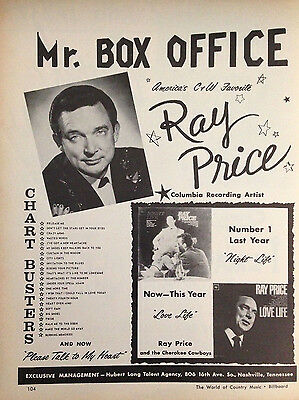 Ray Price / David Houston - 1 Page Advert 1964 Billboard World Of Country Music