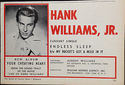 Hank Williams Jr - Half Page Advert From 1964 Billboard World Of Country Music