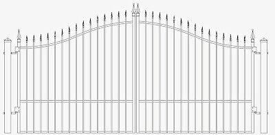 Custom Built Steel / Iron Driveway Entry Gate 12 Ft Wide Dual Swing Residential